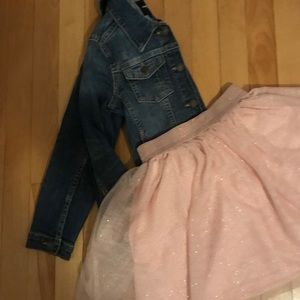 Gap jean jacket and glittery skirt